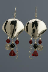 Sterling Silver Fan Earrings with Onyx and Red Glass