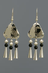 Sterling Silver Triangle Earrings with Onyx and Cones