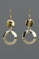 Sterling Silver Hammered Circles with Brass Disc Earrings