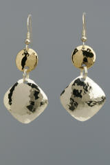 Sterling Silver Hammered Squares with Brass Disc Earrings